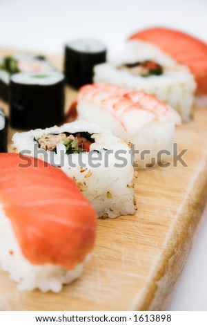 Close up of sushi platter, shallow dof