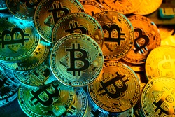 close up of symbol of crypto currency coin virtual money technology block chain business financial ideas concept