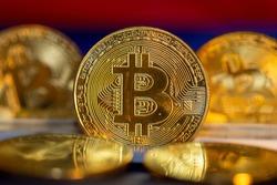 Close up of symbolic Bitcoins