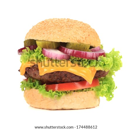 Close up of tasty hamburger. Isolated on a white background.