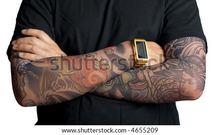 stock photo : Close up of tattooed man's hands over white background.