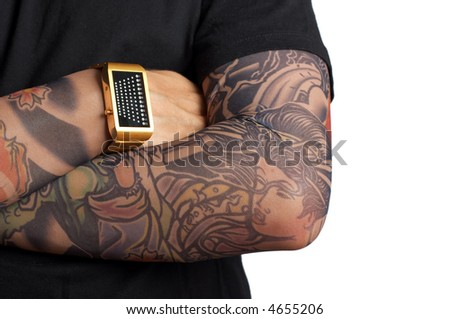 over white background. Tattoos