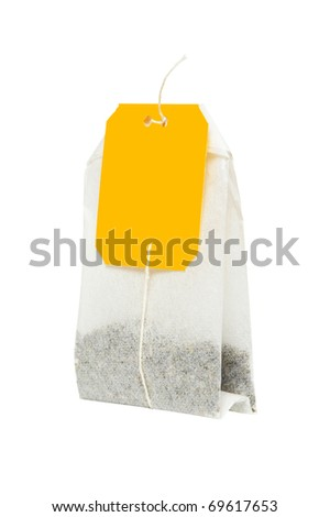 Close-up of tea bag isolated on white background