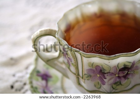 close-up of teacup setting