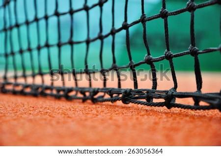 Stock Photo close up of tennis net