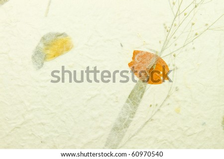 close up of texture handmade paper with piece of plant