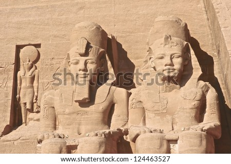 Close-Up of the Abu Simbel monument showing statues of Rameses II , Egypt