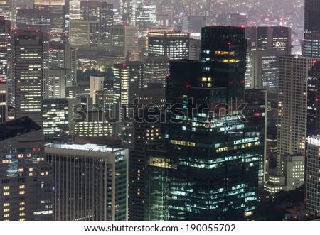 Close up of the Akasaka financial district of Tokyo at night.