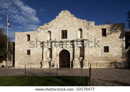 Close up of the Alamo in San Antonio Texas during late afternoon