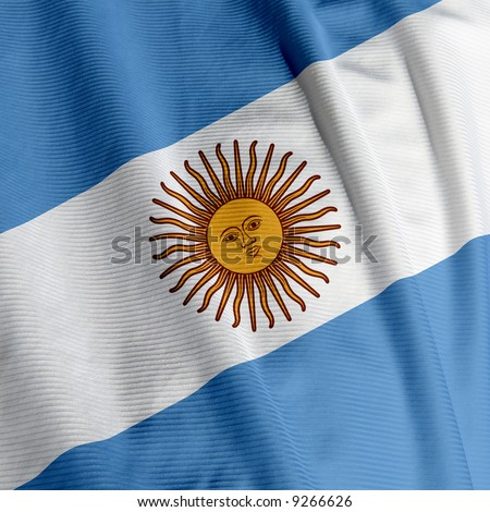 Close up of the Argentine flag, square image