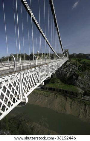 Close up of the carriageway and river Avon on the Clifton suspension bridge