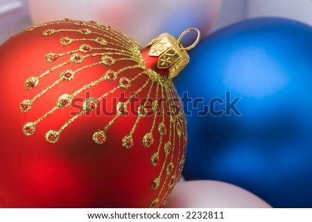 Close up of the christmas decoration. Christmas ball