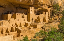 Close up of the Cliff Palace inside Mesa Verde National Park built by the Puebloan native American culture, state of Colorado, United States of America (USA).