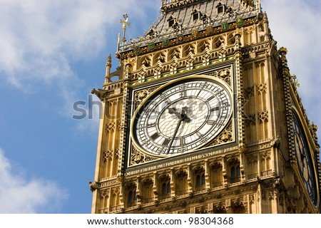 Close-up of the clock face of Big Ben, London