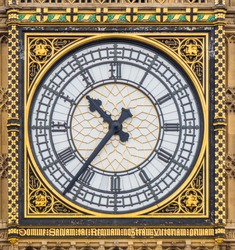 Close-up of the clock face of Big Ben, London, Great Britain