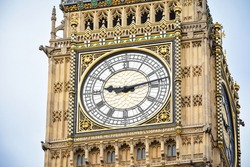 Close-up of the clock face of Big Ben, London. UK