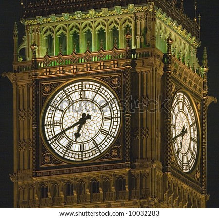 Close-up of the clock of Westminster Palace Clock Tower housing Big Ben