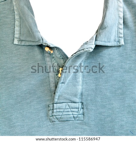 Close up of the collar of a casual man's top