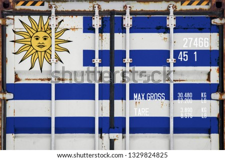 Close-up of the container with the national flag of Uruguay. The concept of  Uruguay  export-import and national delivery of goods. #1329824825