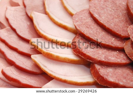 Close up of the cut sausage