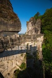 Close up of the empty Bastei bridge in Saxon Switzerland in spring time, Germany with shadow of the photographer
