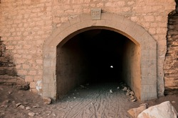Close up of the entrance of Catarpe Tunnel. The tunnel was part of the old road that connected San Pedro de Atacama with the city of Calama