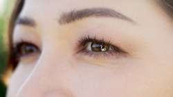 Close-up of the eyes of a young girl with beautiful skin, light makeup and beautiful eyelashes. The focus is a very beautiful macro plan of the brown-green eyes of a girl with sunny highlights