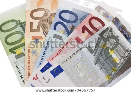 Close-up of the fan of 5, 10, 20, 50, 100, Euro banknotes on white background