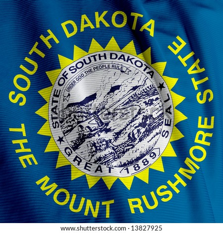 Close up of the flag of the US State of South Dakota, square image