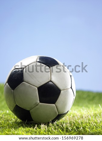 close up of the foot ball on the grass