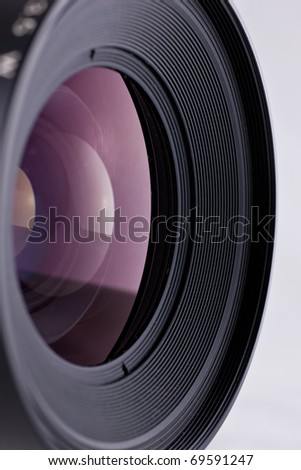 Close-up of the front lens of a medium format camera