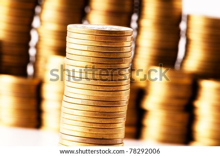 Close up of the golden coin stacks - stock photo