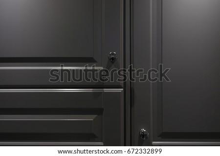 close up of the gray door cupboard. #672332899