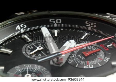 Close-up of the hands of a man's wristwatch