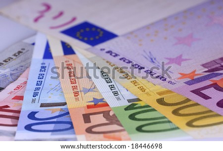 Close up of the highest euro notes evaluable.