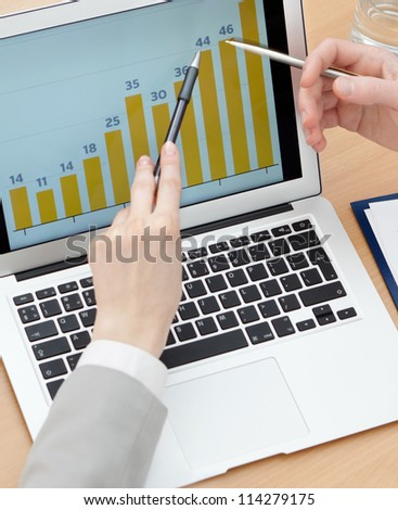 Close up of the laptop with diagrams and hands