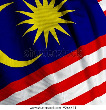 Close up of the Malaysian flag, square image