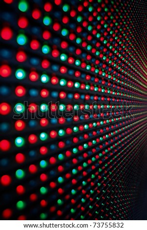 Close-up of the Matrix of a Screen made of multiple LEDs....
