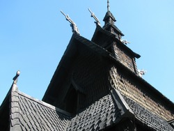 Close-up of the medieval Gol Stave Church (1157–1216), originally from Gol (Buskerud), now at the Norwegian Museum of Cultural History, Oslo, Norway