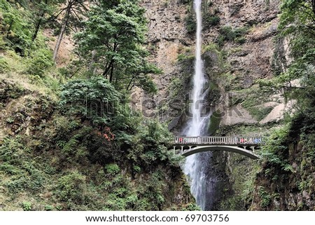 Close up of the Multnomah waterfall in Oregon