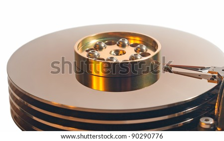 Close-up of the opened Hard Disk Drive. 5,25 inch hard disk drive isolated on a white background. No shadows on the background.
