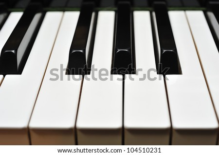 close-up of the piano keys
