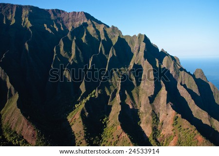 Close up of the rock face on the Na Pali coast on the north of Kauai