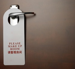 close up of the sign on door handle