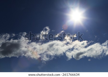close-up of the solar disk and cloud against a blue sky on a sunny day