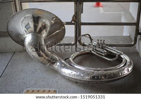 Close-up of the Sousaphone musical instrument. Musical instrument concept  Copy space #1519051331