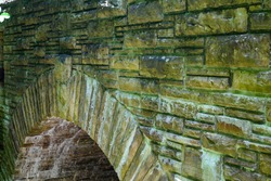 Close-up of the stonework of the Byrd Creek Bridge and Dam in the Cumberland Mountain State Park in Cumberland County, Tennessee.