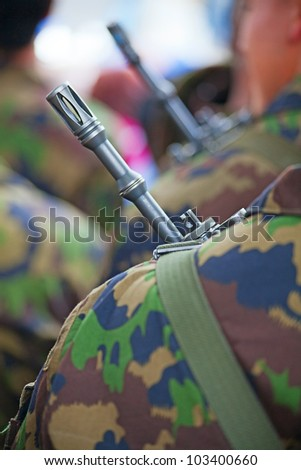 Close-up of the swiss army uniform