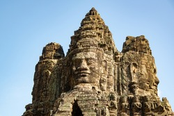 Close up of the the Angkor Thom gate. Angkor Thom is one of UNESCO world heritages which located in Siemreap city, Cambodia.