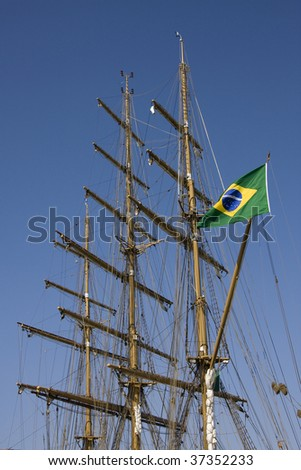 Close-up of the three masts of a brazilian boat